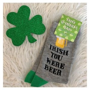 1 Pair Irish Beer St. Patrick's Day Crew Socks NWT